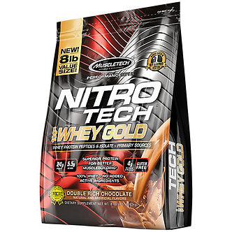 MuscleTech - Nitro Tech 100% Whey Gold [8 LBS / 109 Servings] Double Rich Chocolate