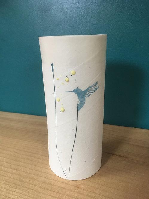 petit vase en porcelaine colibri bleu