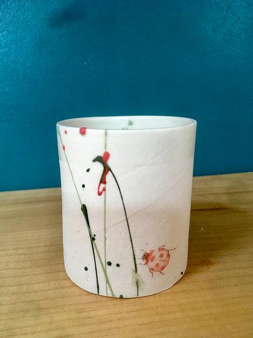 Tasse à thé cylindre coccinelle