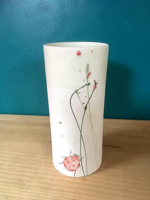petit vase en porcelaine coccinelle