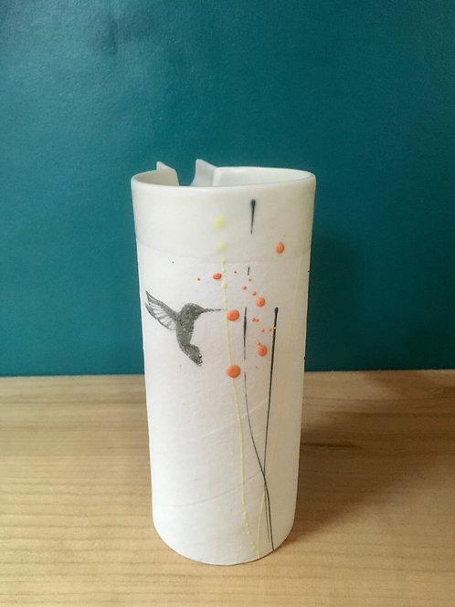 Petit pichet en porcelaine colibri noir
