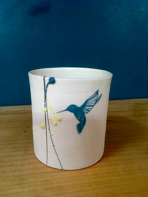 Tasse à thé cylindre colibri bleu