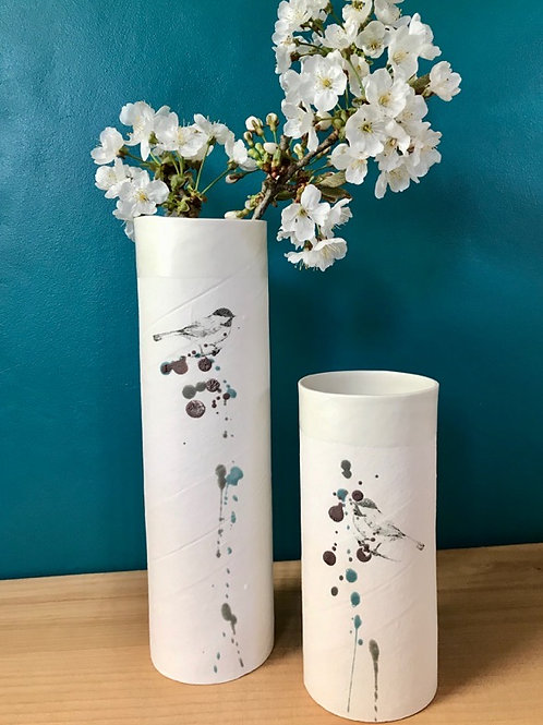 Grand vase en porcelaine mésange