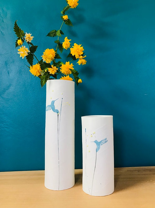 Grand vase en porcelaine colibri bleu