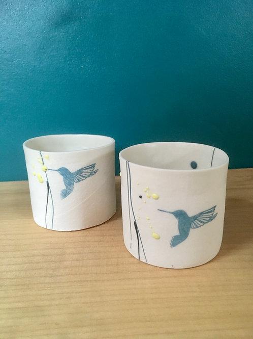 Tasseà café cylindre colibri bleu