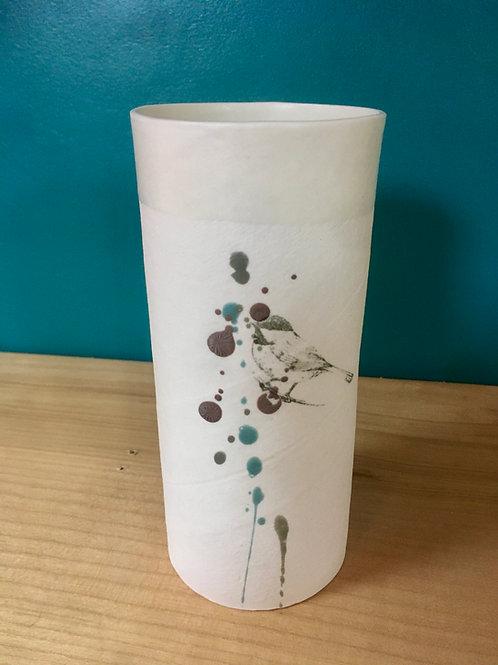 petit vase en porcelaine mésange