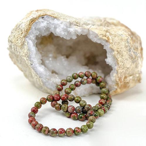 Unakite Round Bead Bracelets
