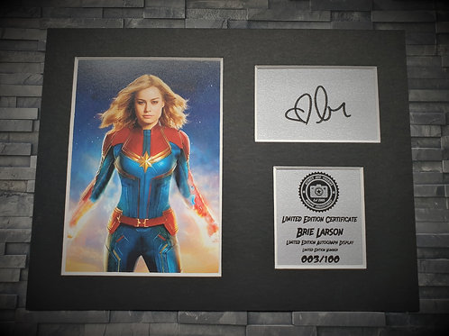 Brie Larson Signed Autograph Display - Captain Marvel