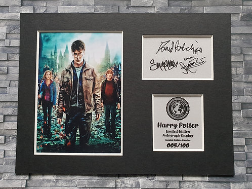 Harry Potter Signed Autograph Display  - Harry, Ron and Hermion