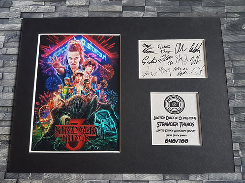 Stranger Things Cast Signed Autograph Display