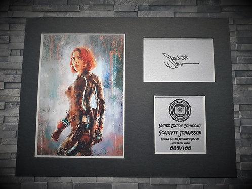 Scarlett Johansson Signed Autograph Display - Black Widow