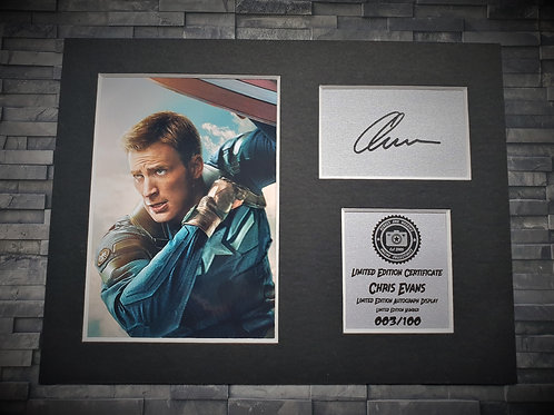 Chris Evans Signed Autograph Display - Captain America - Avengers