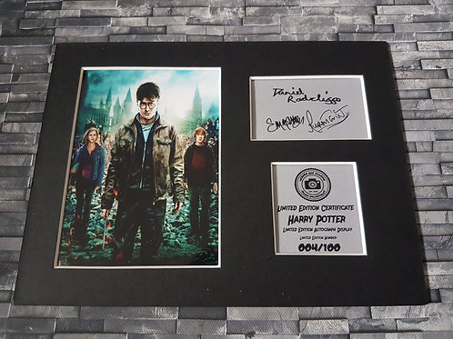 Harry Potter Signed Autograph Display - Harry, Ron, Hermione
