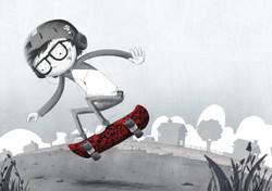 skateboard kid B&W