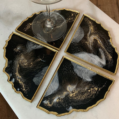 Royal Luxe Classic Resin Geode Coaster Set