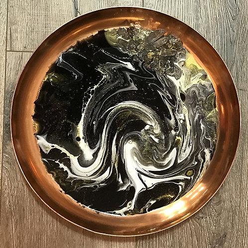 Black Swirl Candle Plate