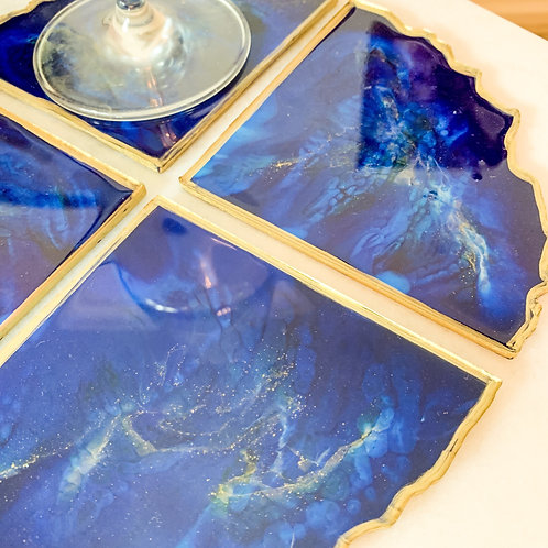 Royal Luxe Blue Resin Geode Coaster Set