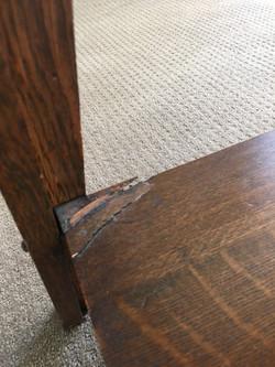 slight damage on lower surface