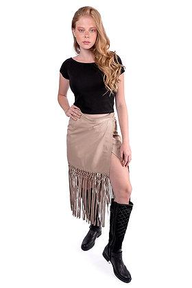 Falda de cuero con flecos