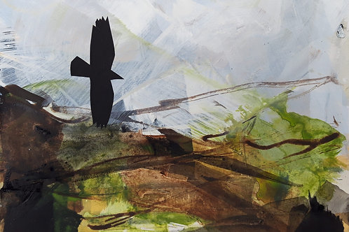 Small Painting Crow in the landscape