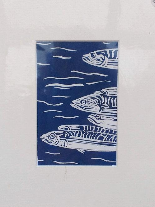 Mackerel Linocut