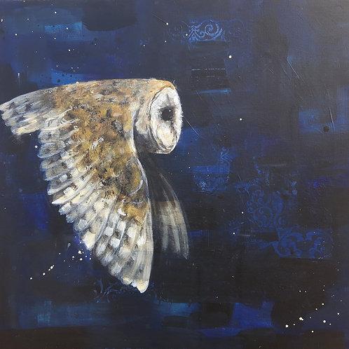 Deeper into Silence - Barn Owl 60 x 60cm on canvas