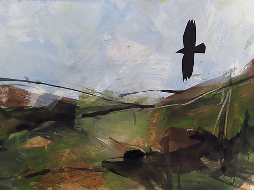 Over the Moors with Crows Original Painting