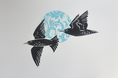 Starlings and a Blue Patterned Moon