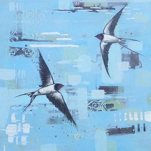 Dip & Turn Swallows - 50 x 50cm on canvas