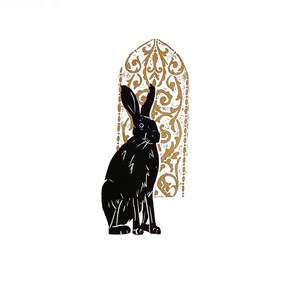 hare by a golden window