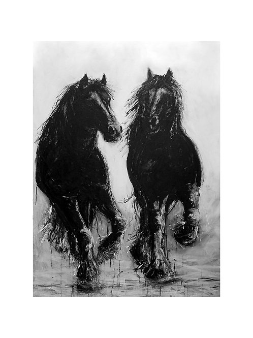 Running Heavy Horse Pair  Print