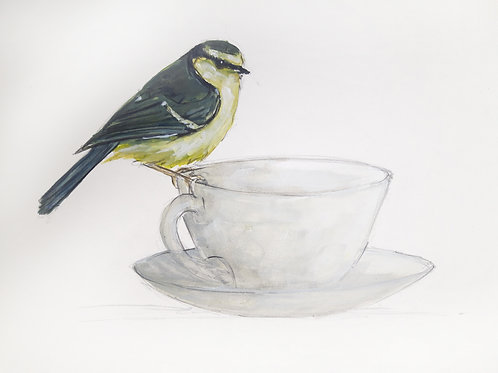 Blue Tit on a Cup Original Painting