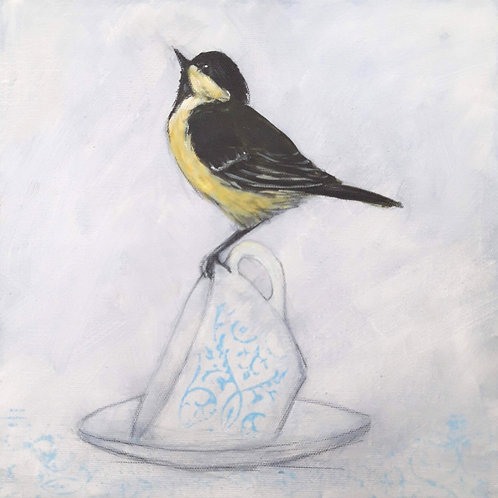 Great Tit on a Cup on Canvas
