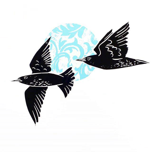 starlings lino cut