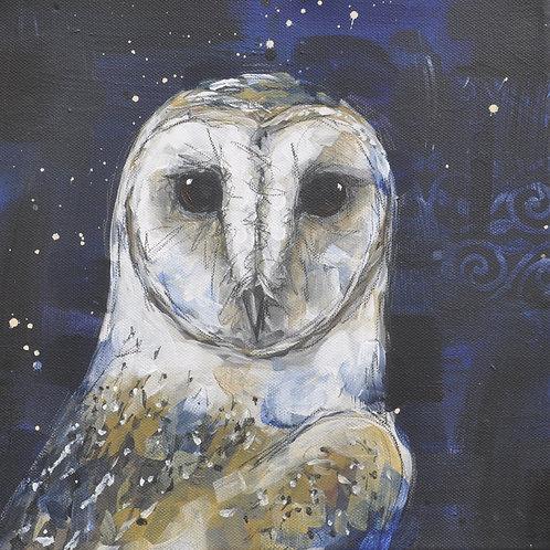 Feather Heart Barn Owl on Canvas