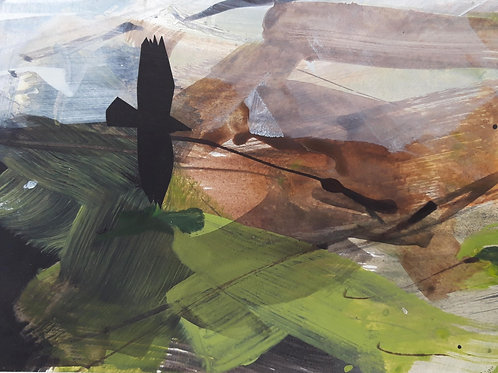 Small Painting Crow over the fields