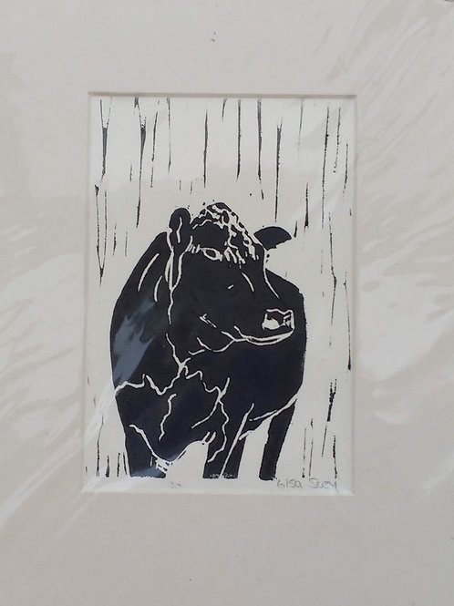 Hereford Cow Linocut