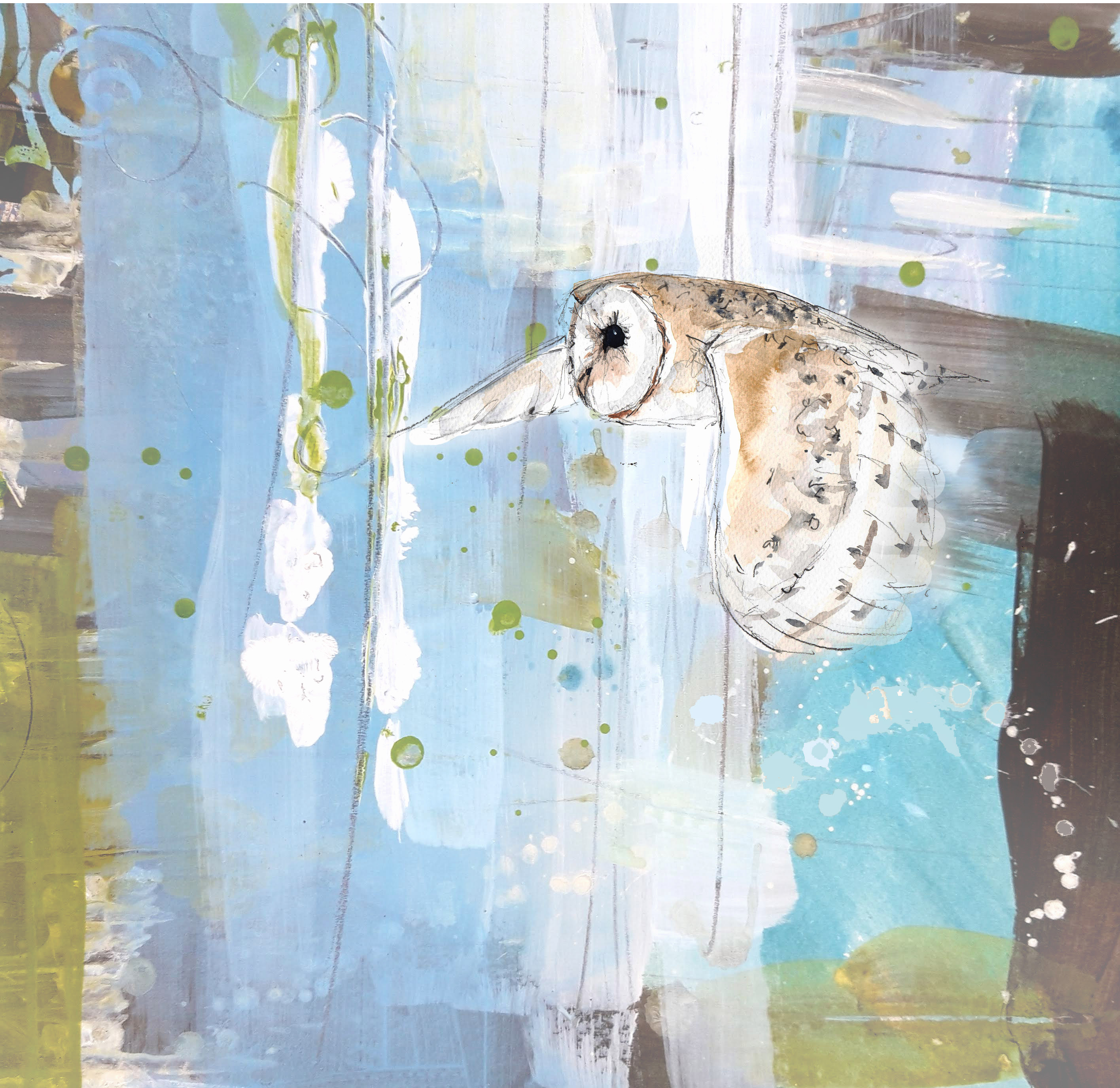 Barn Owl Painting on Canvas