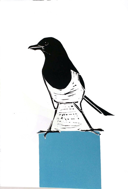 magpie on a plinth