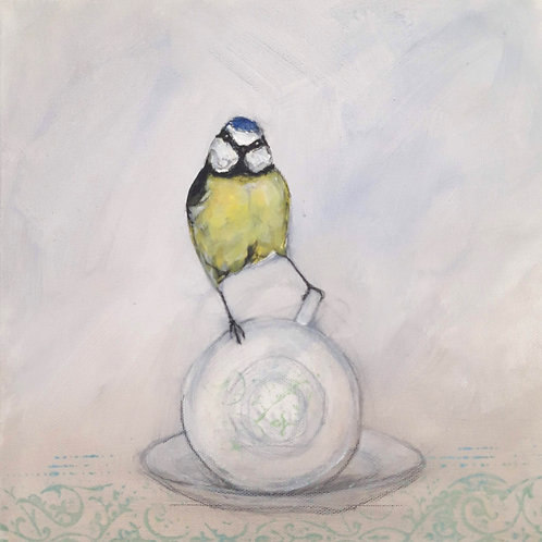 Blue tit on a Cup on Canvas