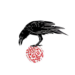 raven on a ball linocut
