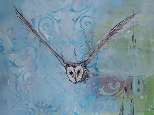 Barn Owl with Abstract Background Original Painting