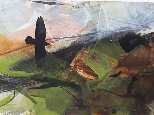 Small Painting Crow across theMoor