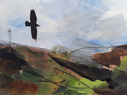 Towards the coast with Crows Original Painting