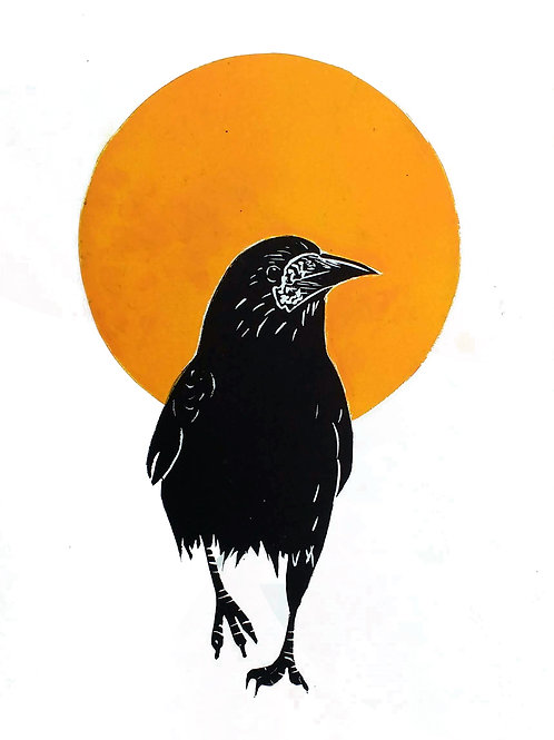 Rook walking away from a Large Yellow Sun