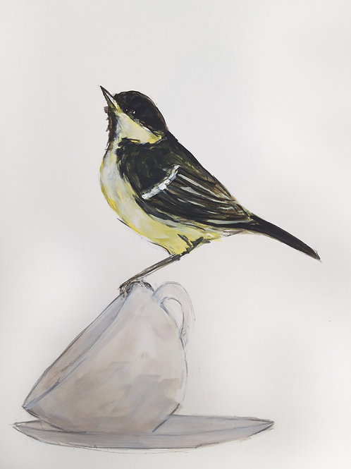 Great Tit on a Cup Original Painting
