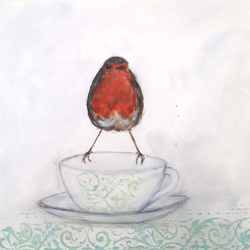 Robin on a Cup on Canvas