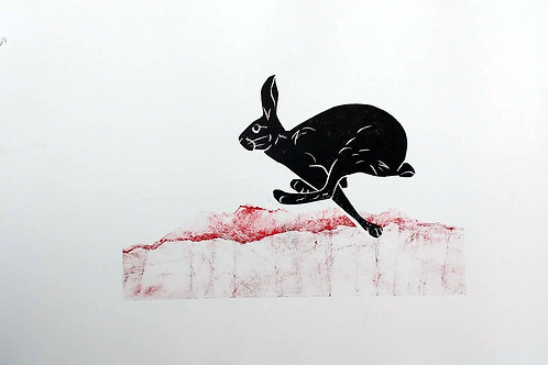 Hare Running with red landscape