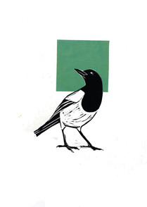 magpie and a green square linocut