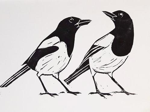 Magpies Linocut